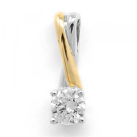 Vackert fyrkantigt diamantberlocker i 14  carat guld- och vitguld 0,26 ct