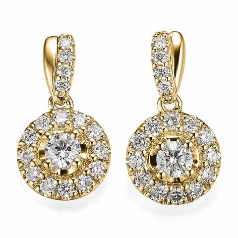 Diamant örhängen i 14 karat guld med diamanter