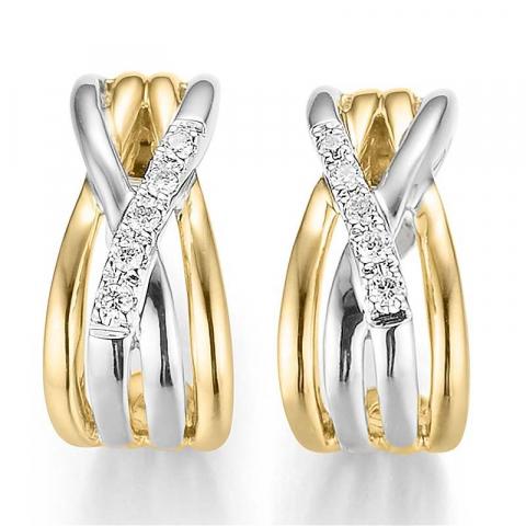sköna diamant örhängen i 14 karat guld och vitguld med diamant