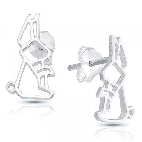 Fina kanin örhängen i silver