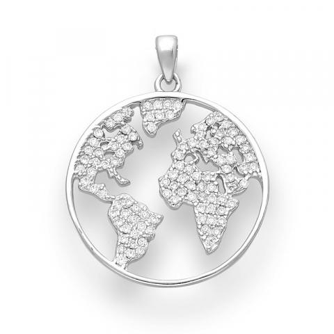 runt world halsband i silver med hängen i silver