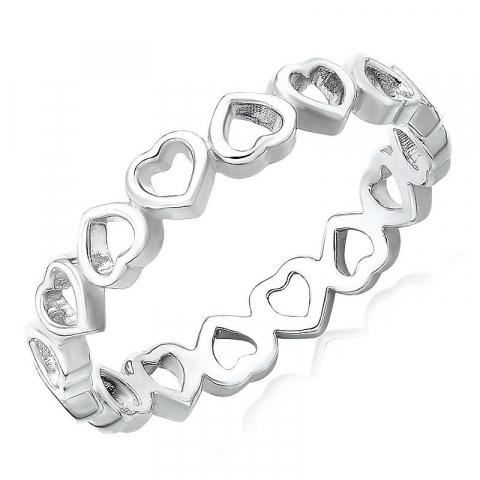 Hjärtan ring i silver