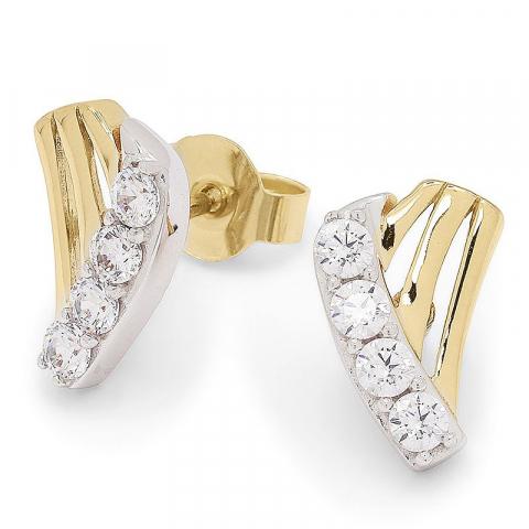 Fina zirkon guldörhängestift i 9 karat guld med rhodium med zirkoner