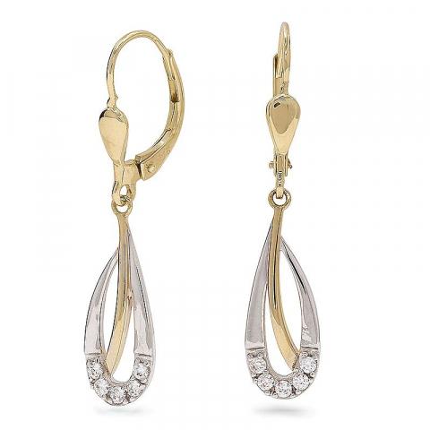 Fin långa guldörhängen i 9 karat guld med rhodium med zirkoner
