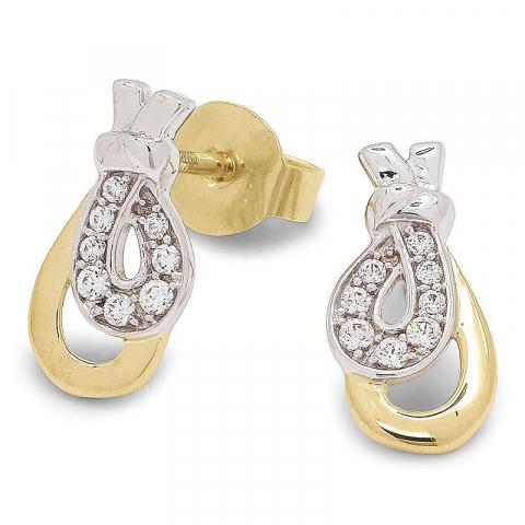 Eleganta zirkon guldörhängestift i 9 karat guld med rhodium med zirkon