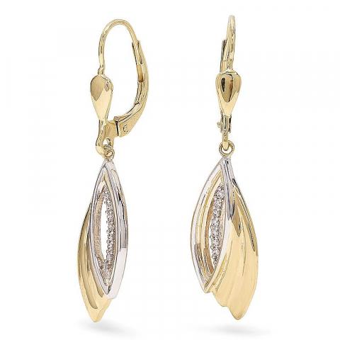 Vackra guldörhängen i 9 karat guld med rhodium med zirkon