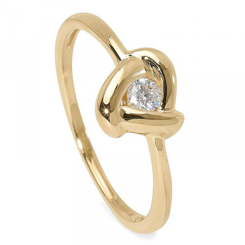 Blank zirkon ring i 9 karat guld