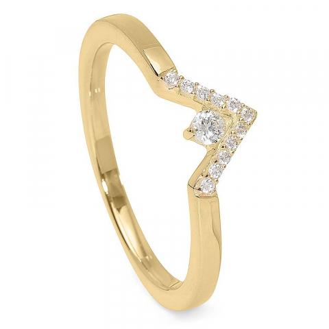 Elegant V zirkon ring i 9 karat guld