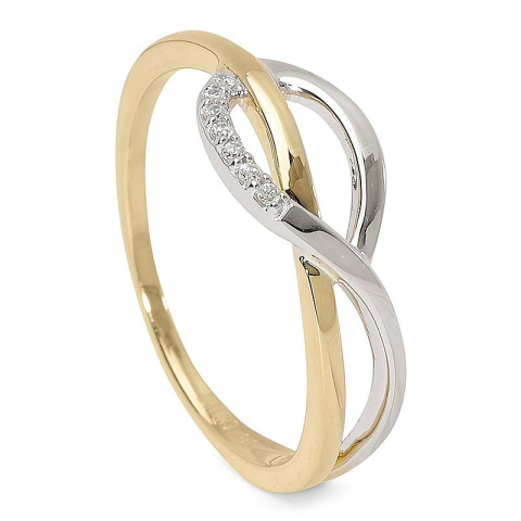 Enkel zirkon ring i 9 karat guld och vitguld