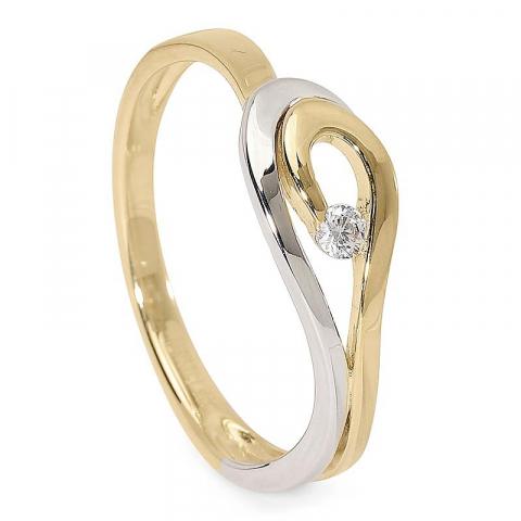 Förtjusande zirkon ring i 9 karat guld och vitguld
