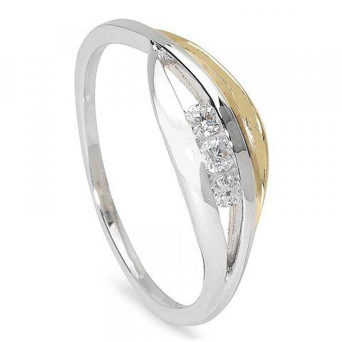 Blank smal zirkon ring i 9 karat guld och vitguld