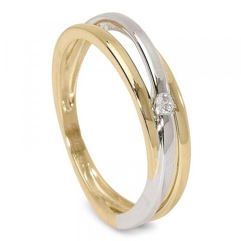 Blank vacker zirkon ring i 9 karat guld och vitguld