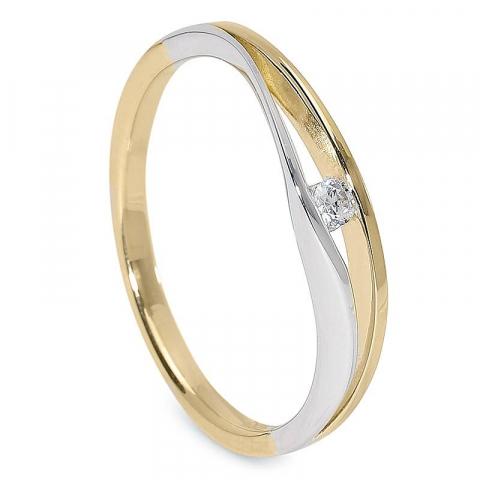 Smal Fin zirkon ring i 9 karat guld och vitguld