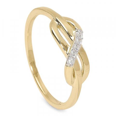 Moderna fin zirkon ring i 9 karat guld med rhodium