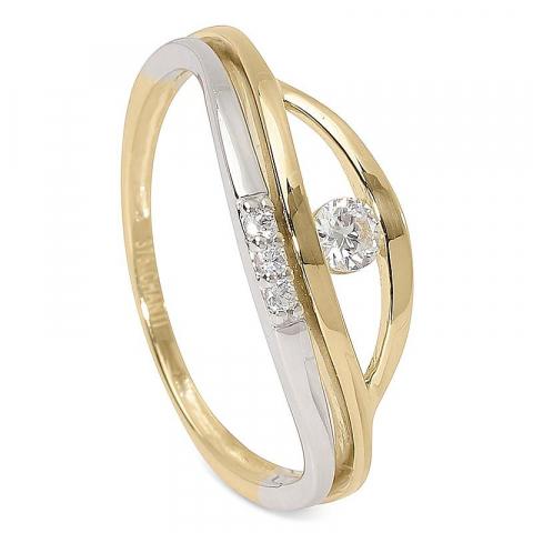 Fin vit zirkon guld ring i 9 karat guld och vitguld