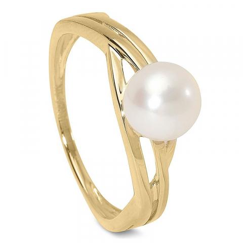 Elegant vacker pärlaringar i 9 karat guld
