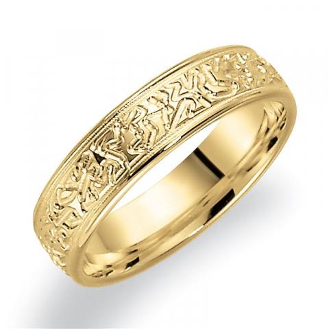 Mönstrad 5 mm vigselsring i 14  karat guld