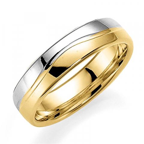 Tvåfärgad 5 mm vigselsring i 14  karat guld