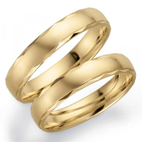 Mönster 4 mm vigselsringar i 9 karat guld - set