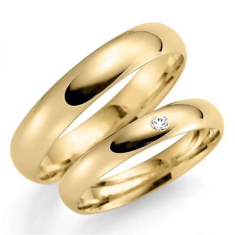 klassiska 5 och 3 mm vigselsringar i 9 karat guld 0,02  ct - set