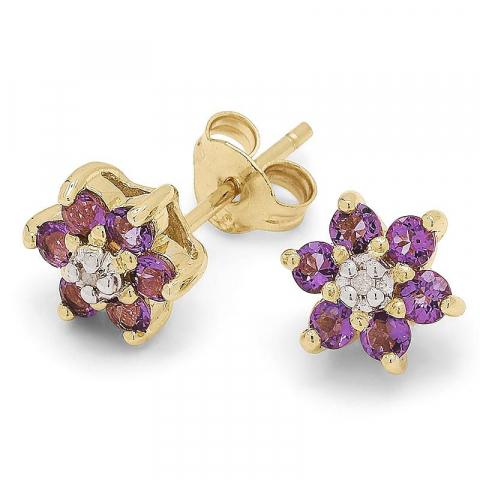 Blommor lila ametist örhängen i 9 karat guld med rhodium med ametister och diamanter