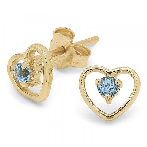 Söta hjärta topas örhängen i 9 karat guld med topaser