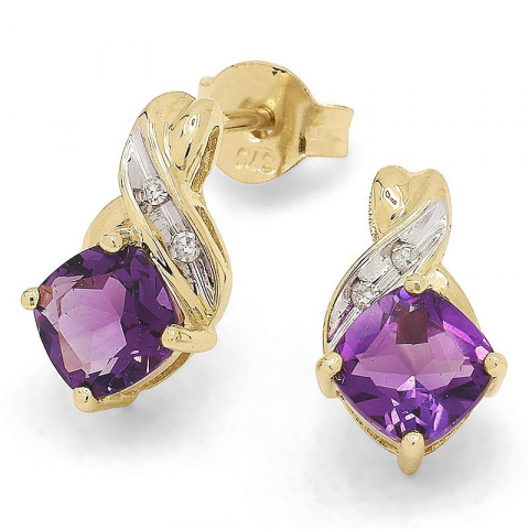 Söta ametist örhängestift i 9 karat guld med rhodium med ametister och diamanter