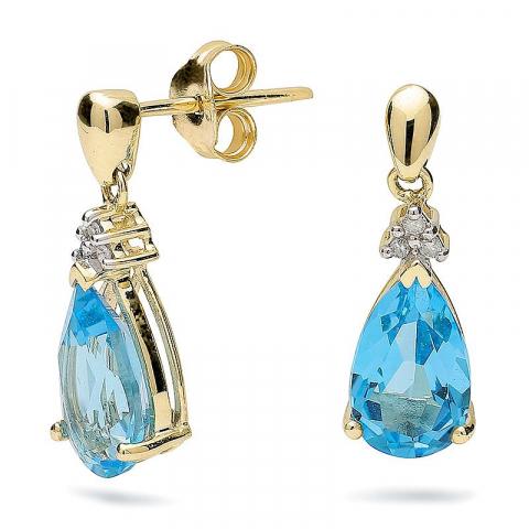 Söta droppe topas örhängen i 9 karat guld med rhodium med topaser och diamanter