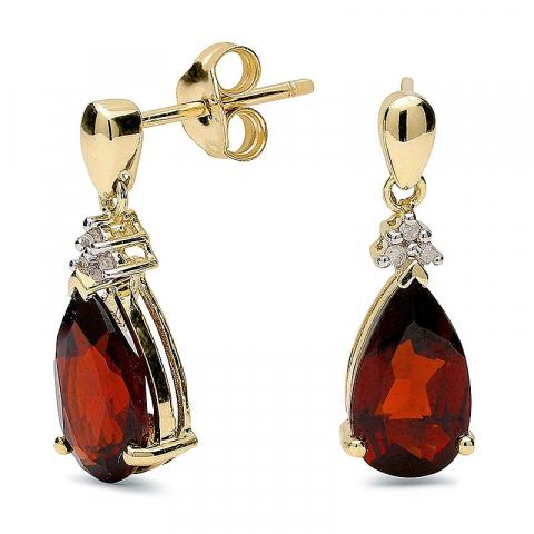 äkta  droppe granat örhängen i 9 karat guld med rhodium med granater och diamanter