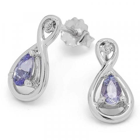 Eleganta infinity tanzanit örhängen i 9 karat vitguld med tanzanit och diamanter