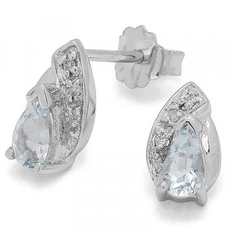 Små blå akvamarin örhängen i 9 karat vitguld med akvamariner och diamanter