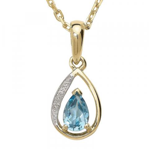 Elegant droppformad topas hängen i 9 carat guld med rodium 0,006 ct
