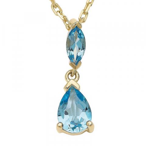 Vackert blå topas hängen i 9 karat guld