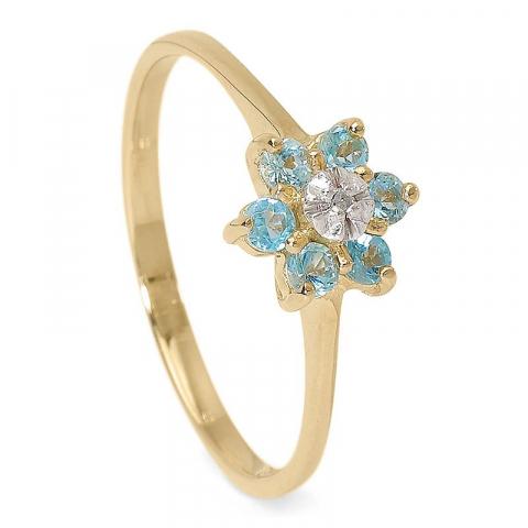 Söt blommor topas guld ring i 9 karat guld  0,005 ct