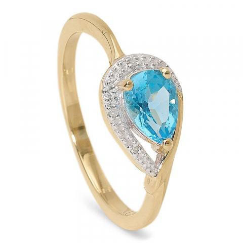 Fin droppformad topas diamantring i 9 karat guld  0,009 ct