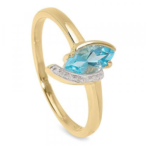 Enkel blå topas ring i 9 karat guld med rhodium  0,009 ct