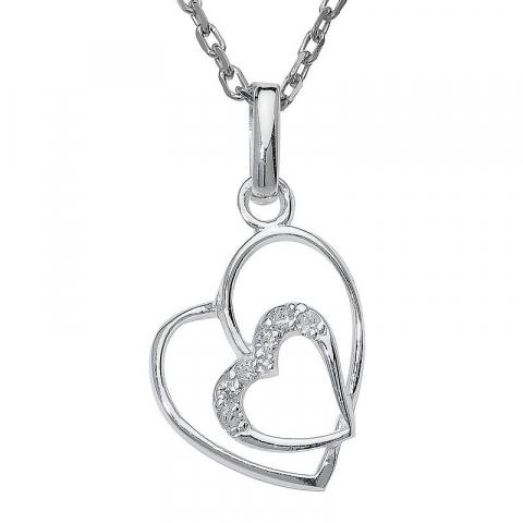 Dubbel hjärta zirkon hängen i silver