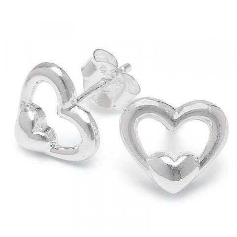 Söta hjärta örhängestift i silver