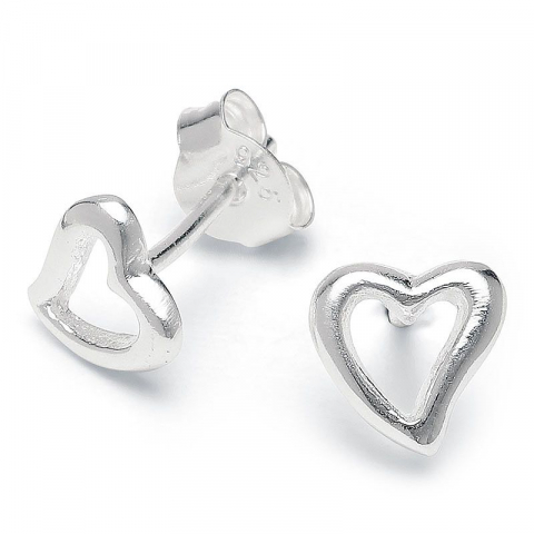 Eleganta hjärta örhängestift i silver