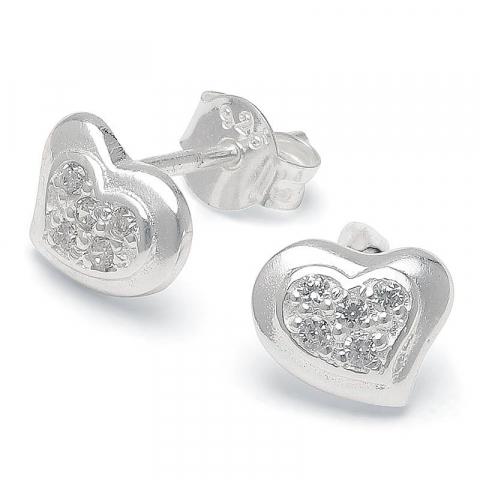 Eleganta hjärta zirkon örhängestift i silver