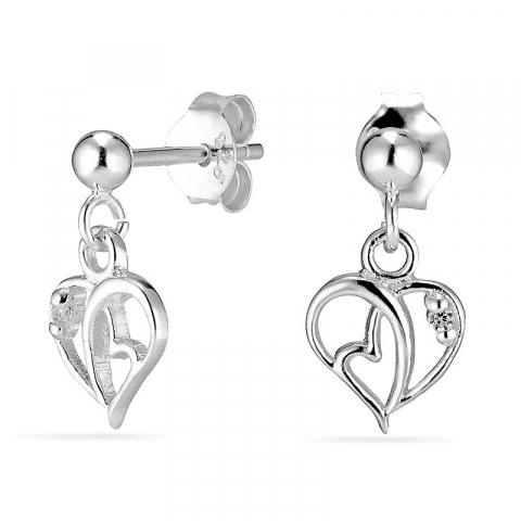 hjerter øreringe i sølv