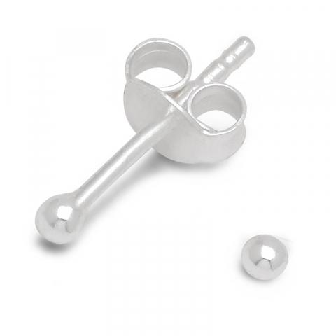 2 mm kugle øreringe i sølv