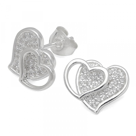 Sköna hjärta örhängestift i silver