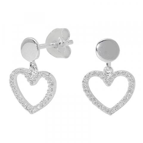 Smycken: hjärta zirkon örhängestift i silver