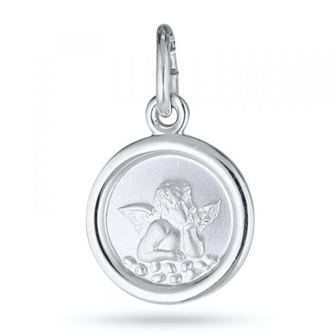 Runt ängel hängen i rhodinerat silver