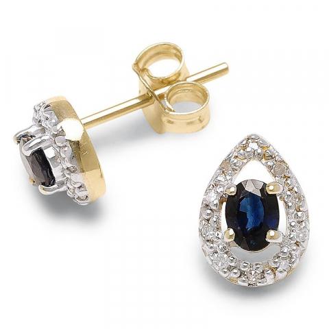 Droppformad äkta  örhängen i 9 karat guld med syntetiska safirer och diamanter