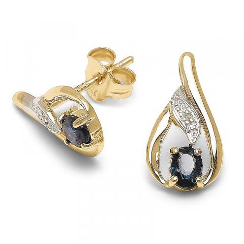 Sköna droppe diamantörhängen i 9 karat guld med syntetiska safirer och diamanter