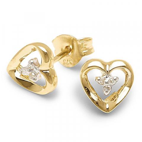 Små hjärta örhängen i 9 karat guld med diamanter