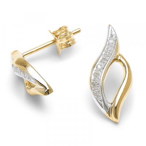 Eleganta örhängen i 9 karat guld med diamanter