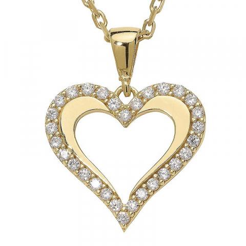 Stort hjärta hängen i förgyllt silver